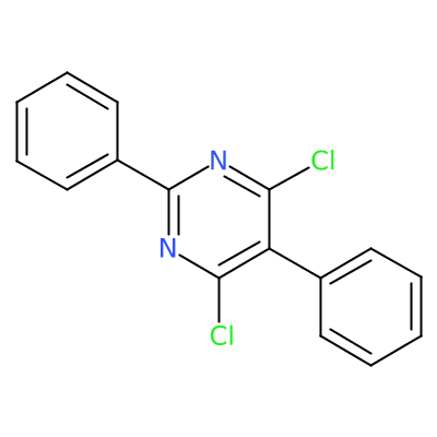 Molecular structure for 4,6-dichloro-2,5-diphenylpyrimidine